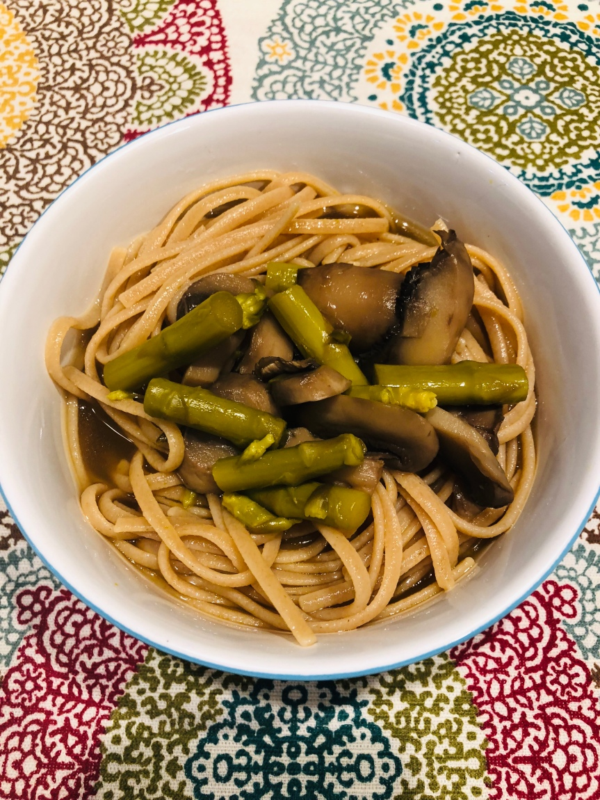 Linguini In Mushroom Asparagus Broth