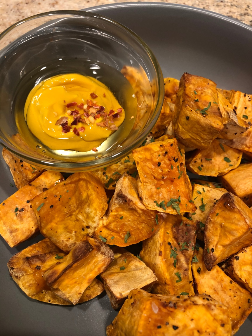Simple Roasted Yams with Spicy Mustard